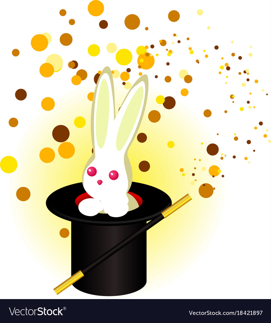 A rabbit in a magicians hat a magic wand vector image