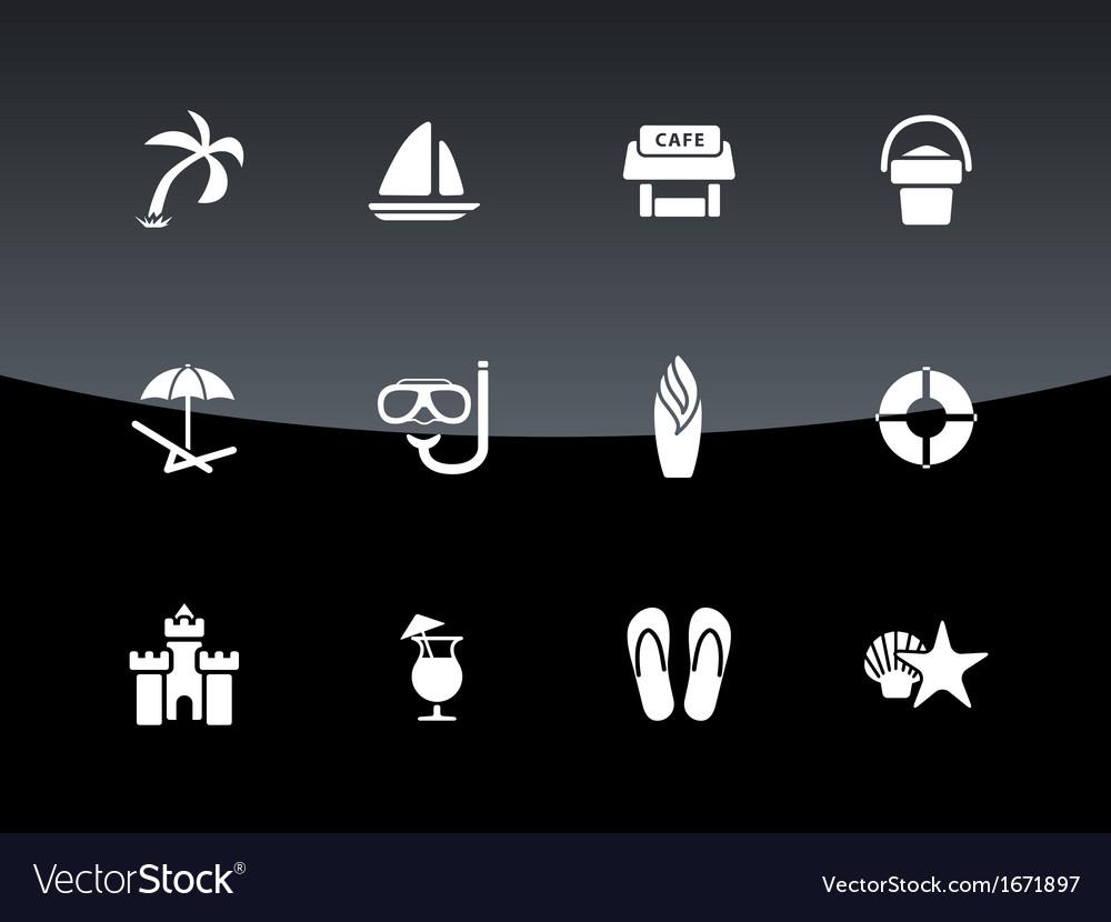 Beach icons on black background