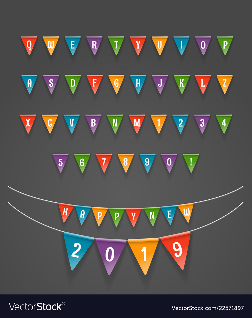 Color triangle flags garlands happy new 2019