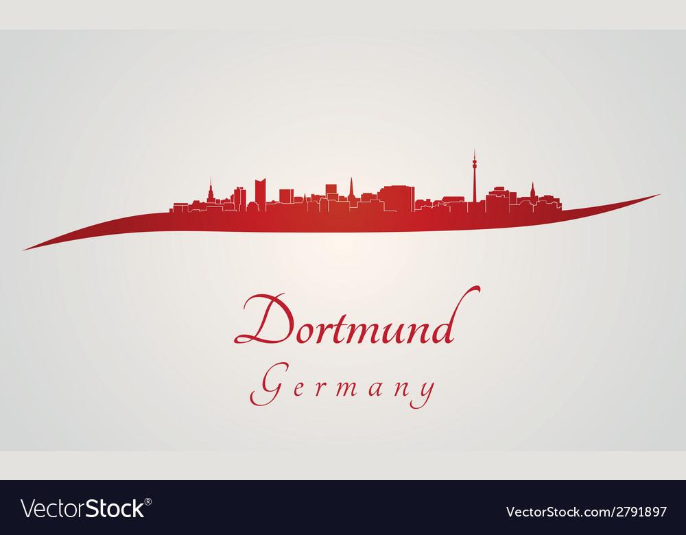 Dortmund skyline in red