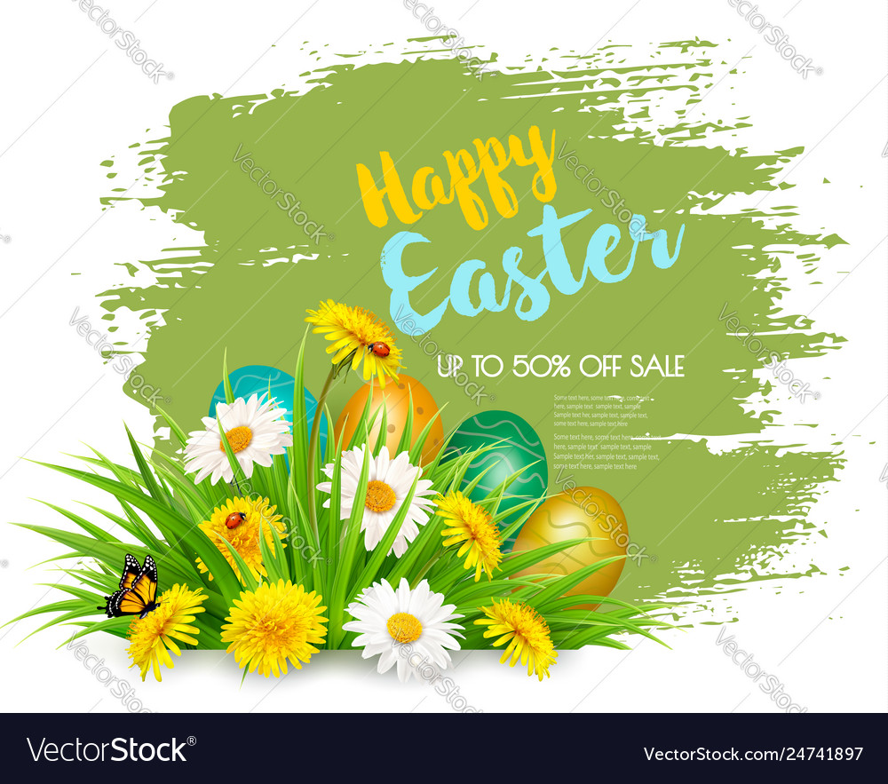 Easter sale background with colorful eggs