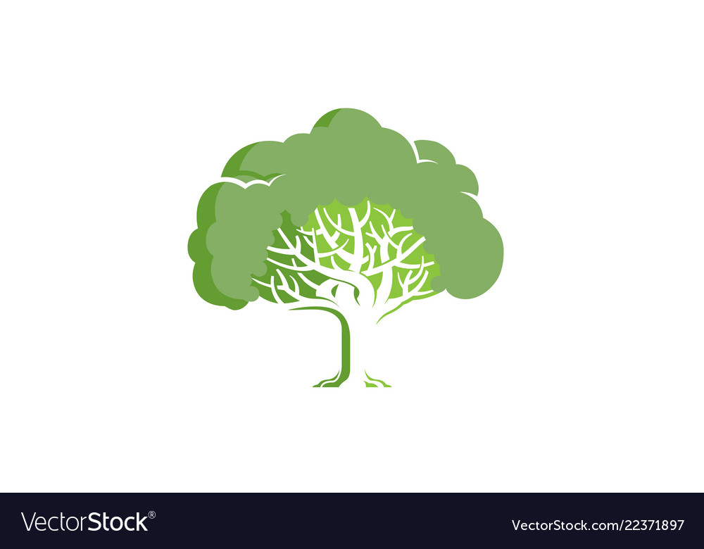 Green creative oak tree logo