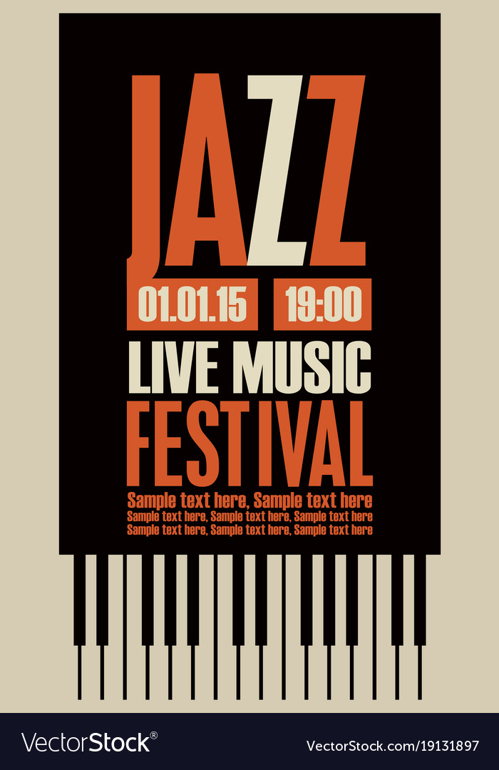 Poster For The Jazz Festival With Piano Keys Vector Image