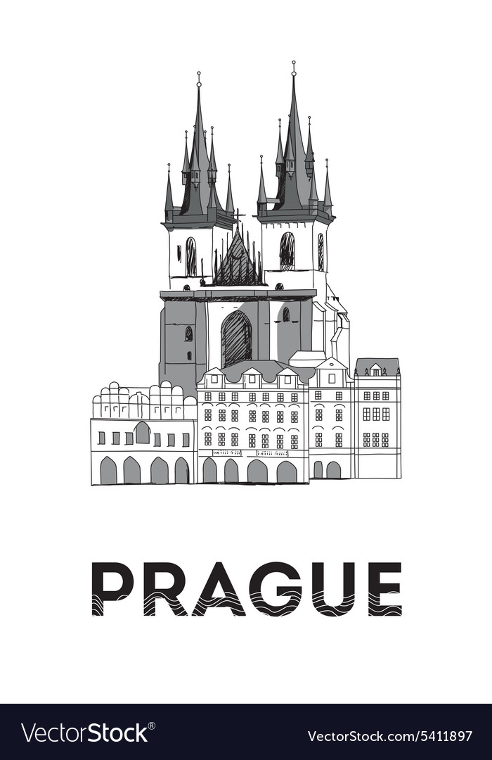 The sketch of Old town square in Prague