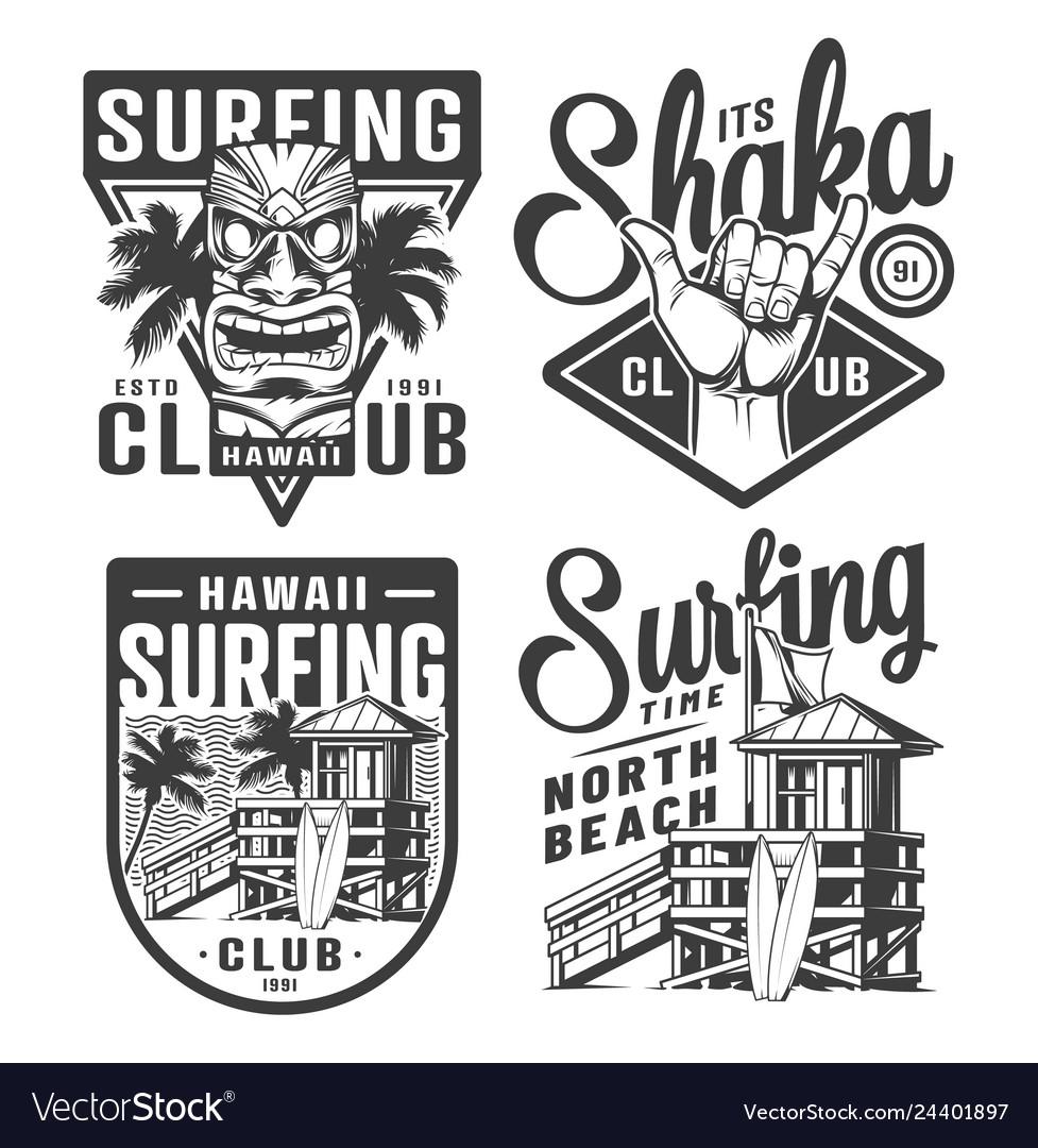 Vintage surfing logos set