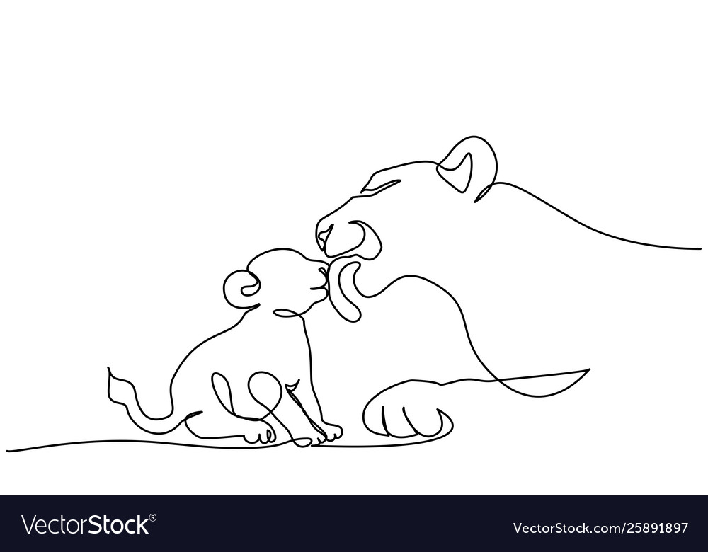 Young Lioness With Lion Cub One Line Drawing Vector Image Mothers of young cubs spend most of their time away from the pride, although they may join their companions for brief periods. vectorstock