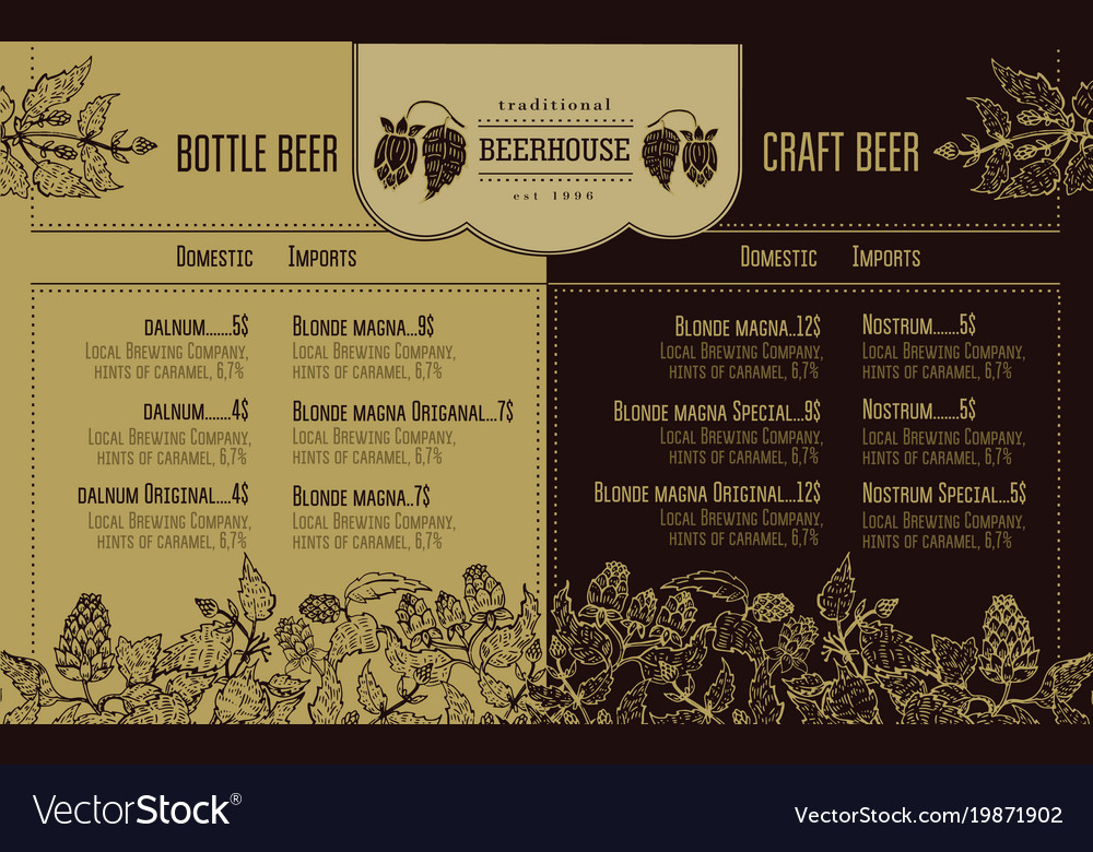 Beer Menu For Restaurant And Cafe Design Template Vector Image