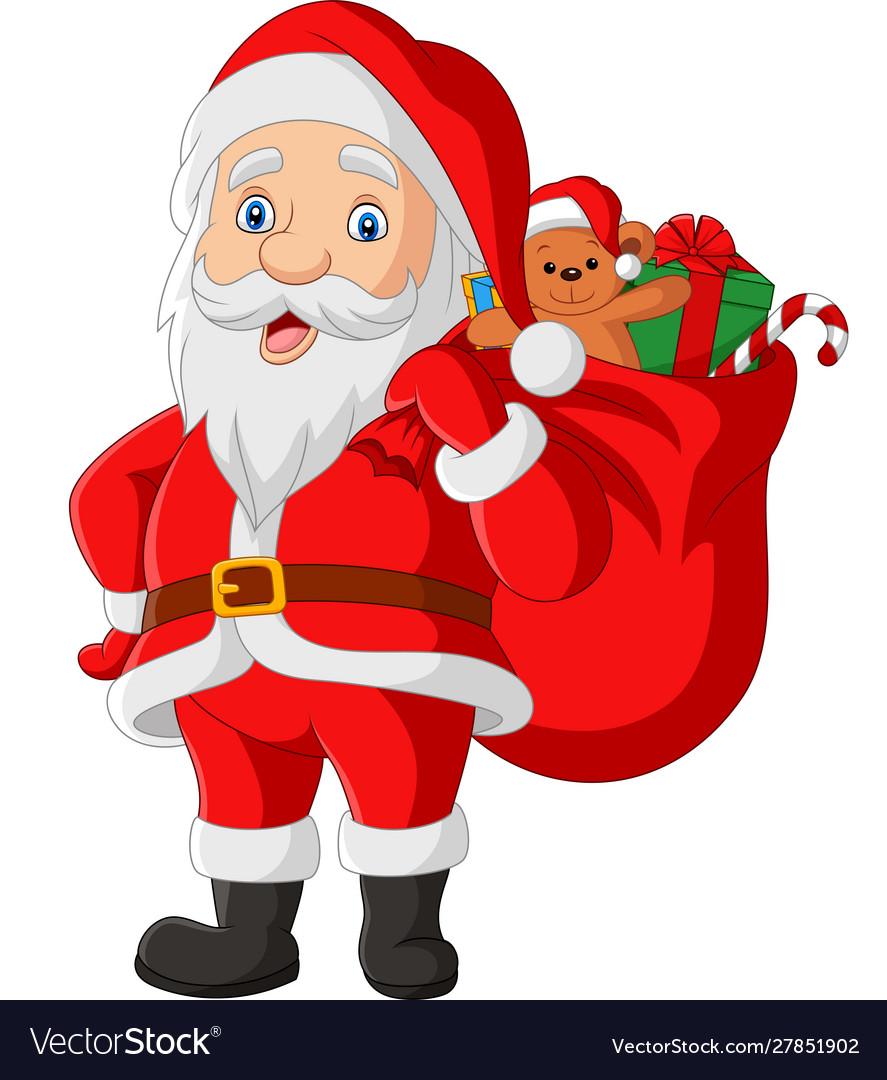 Cartoon santa claus carrying a bag presents