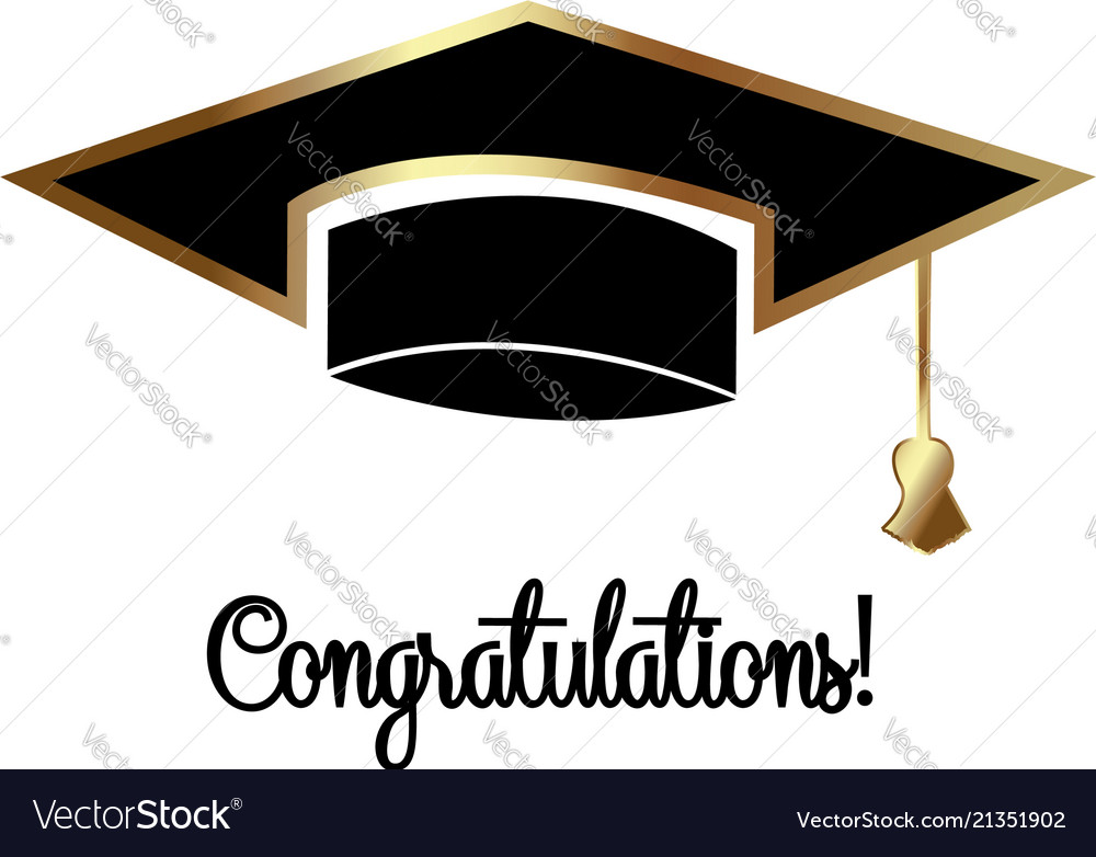congratulations graduates graduation day cap vector image
