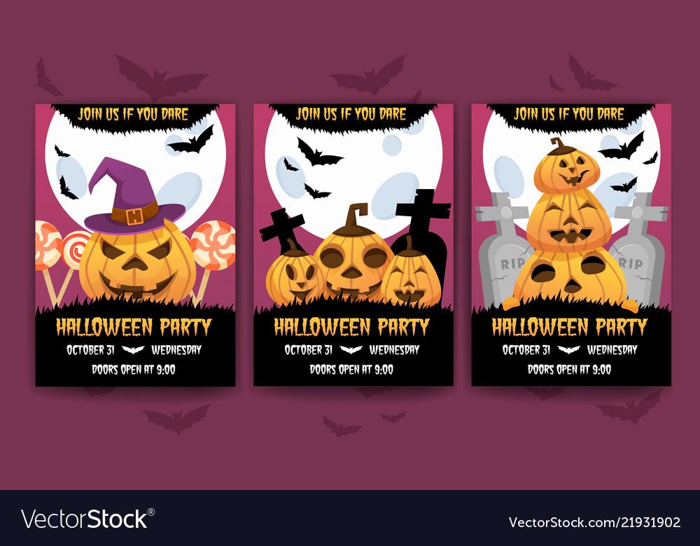 happy halloween invitation posters royalty free vector image