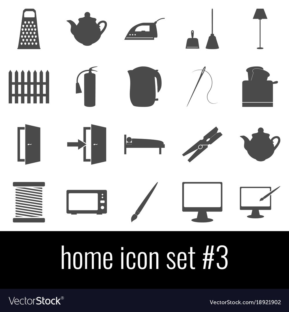 Home icon set 3 gray icons on white background