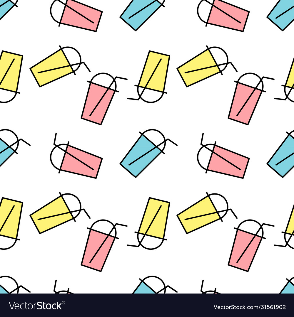Seamless pattern bubble tea with different fruits