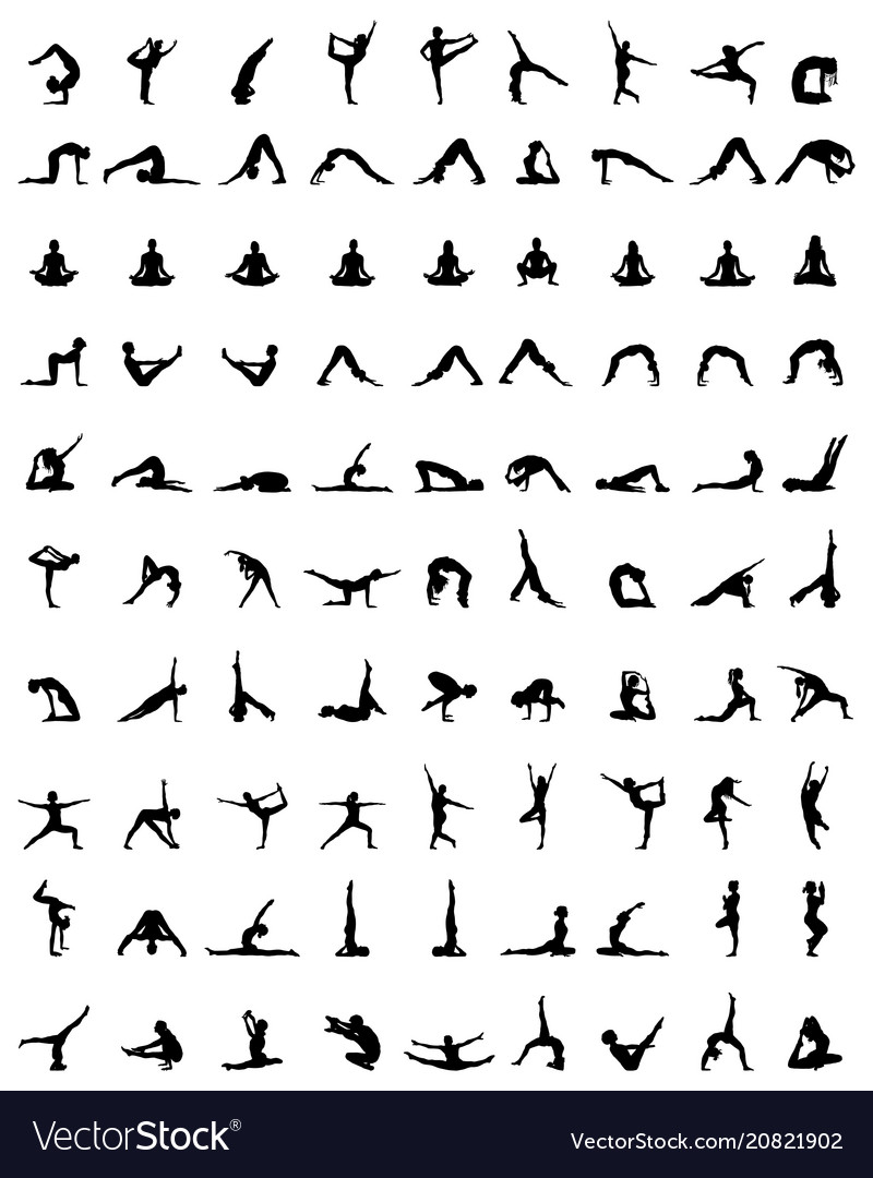 Silhouettes of yoga and fitness