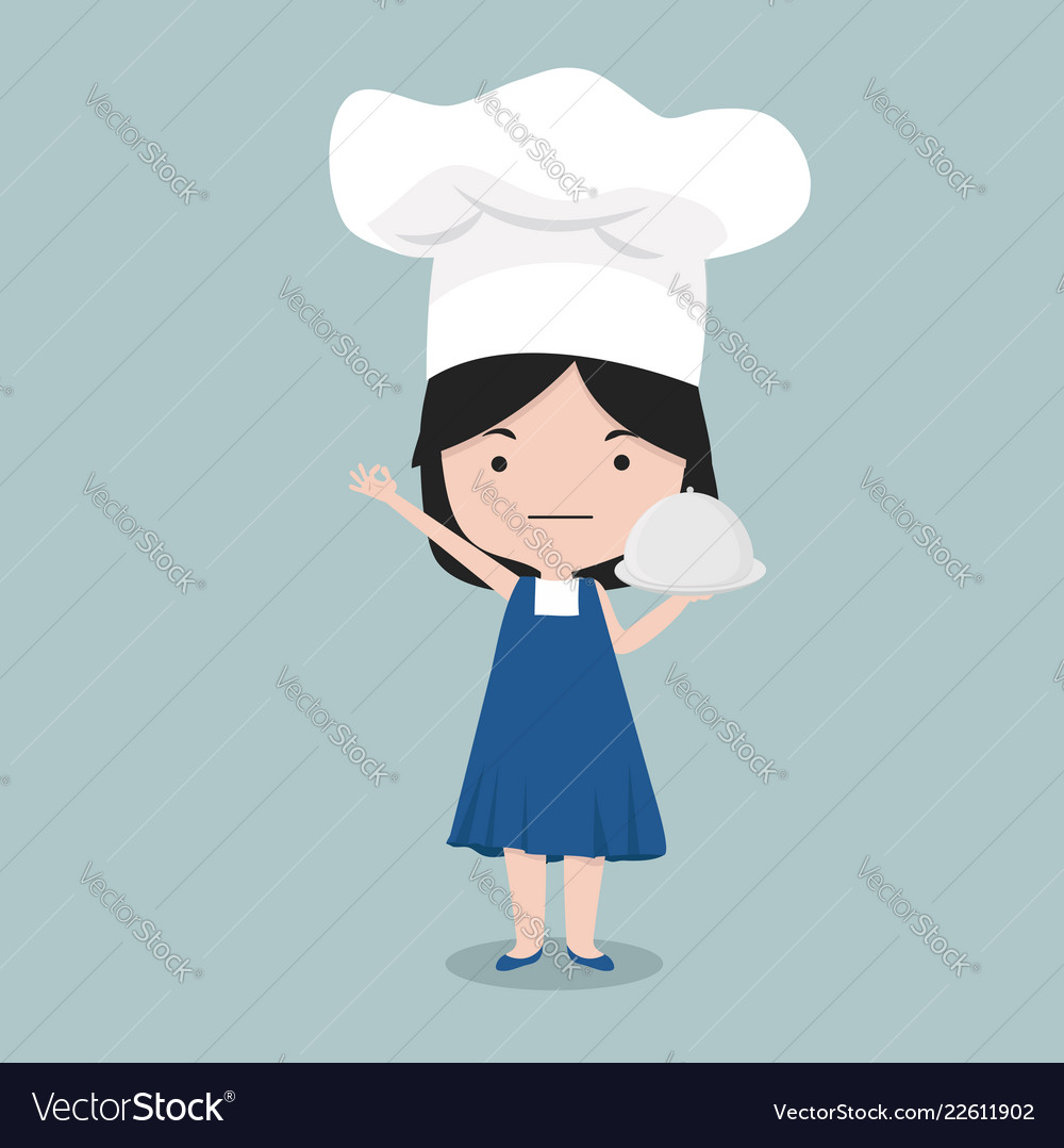 Small girl wear chef character