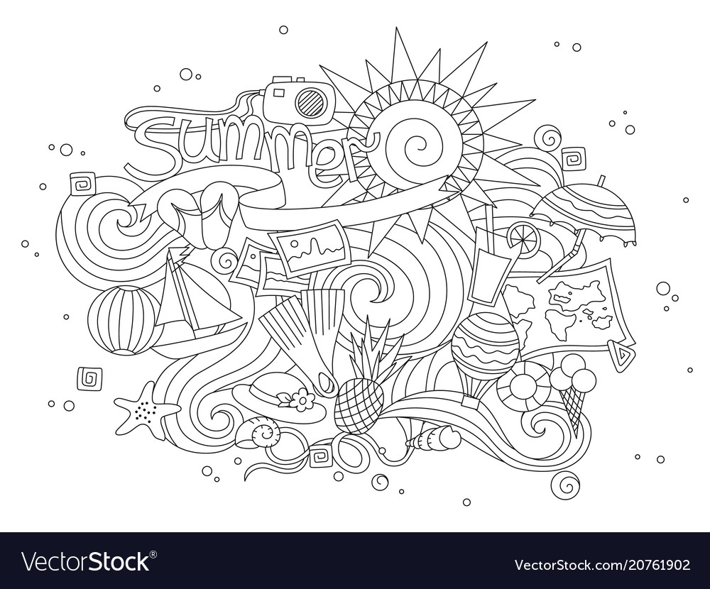 Summer black hand drawn thin line coloring book
