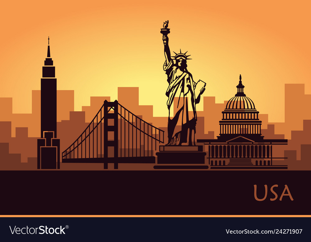 Abstract city skyline with sights of the usa at