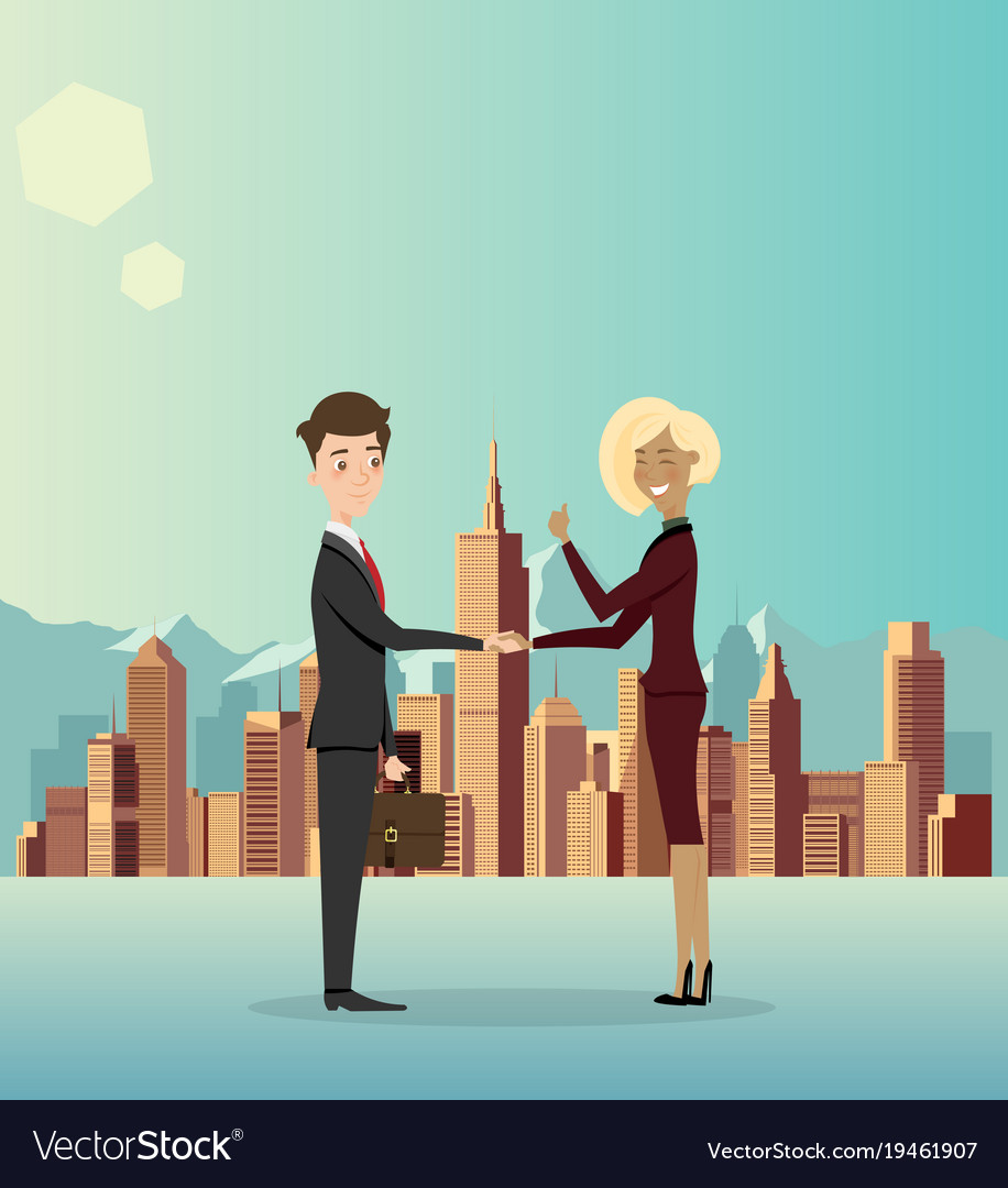 Business men cooperate about business in the city