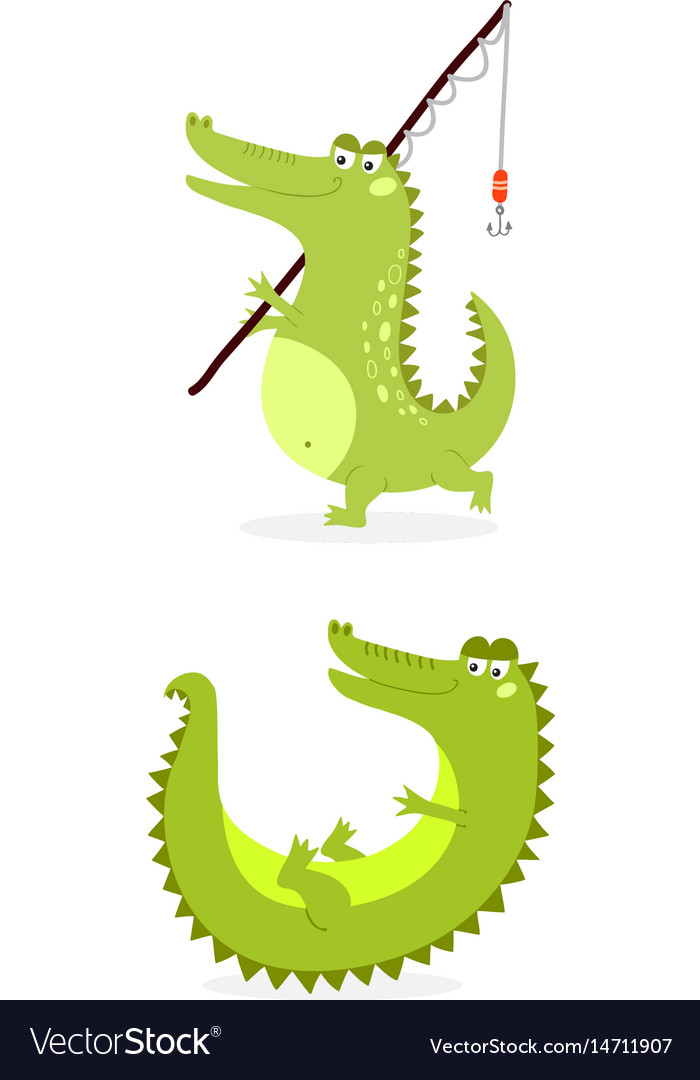 Cartoon green crocodile funny predator australian