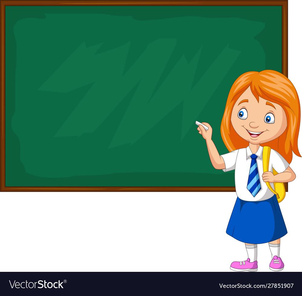 Cartoon schoolgirl in uniform writing