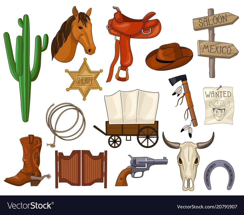 Cartoon set of wild west accessories vector image