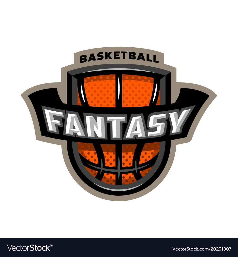 Fantasy basketball sports logo emblem