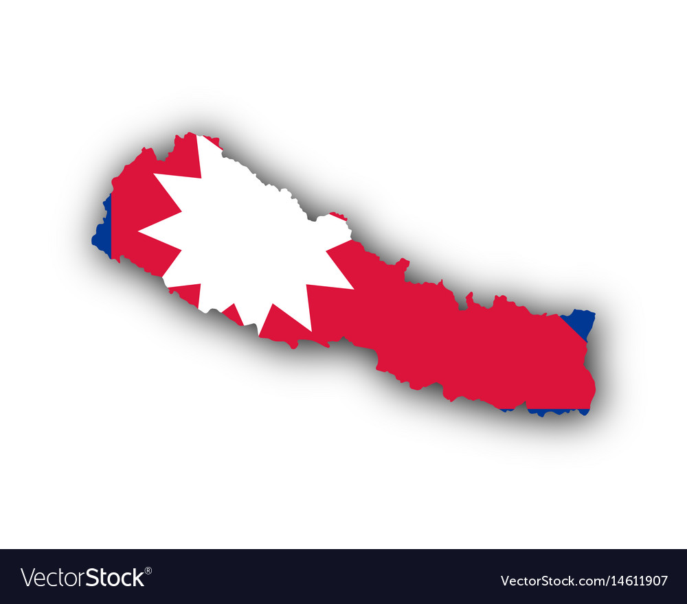 Map and flag of nepal