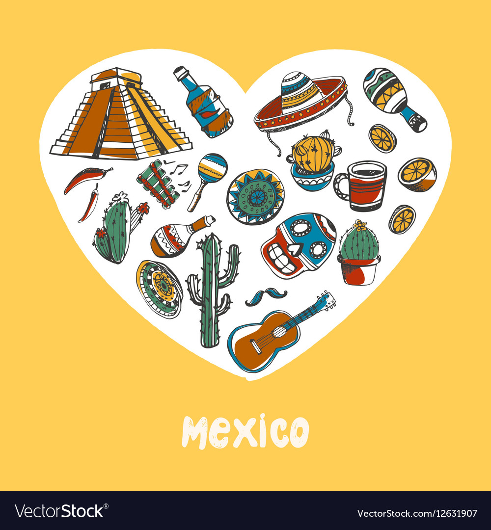 Mexico Colored Doodles Collection