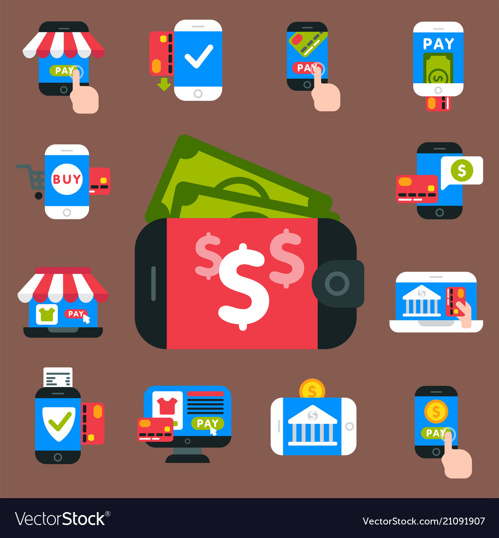 Mobile payments icons smartphone