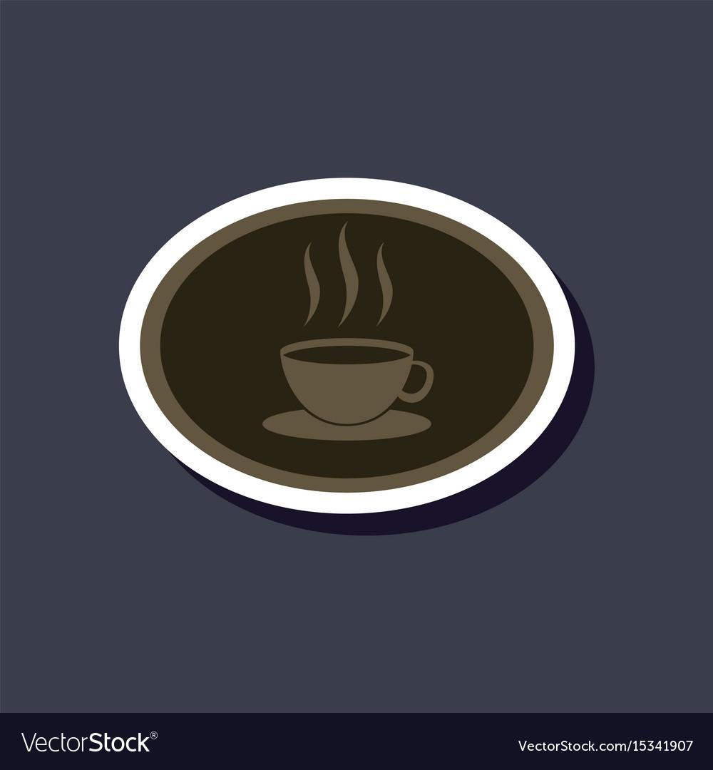 Paper sticker on stylish background logo coffee