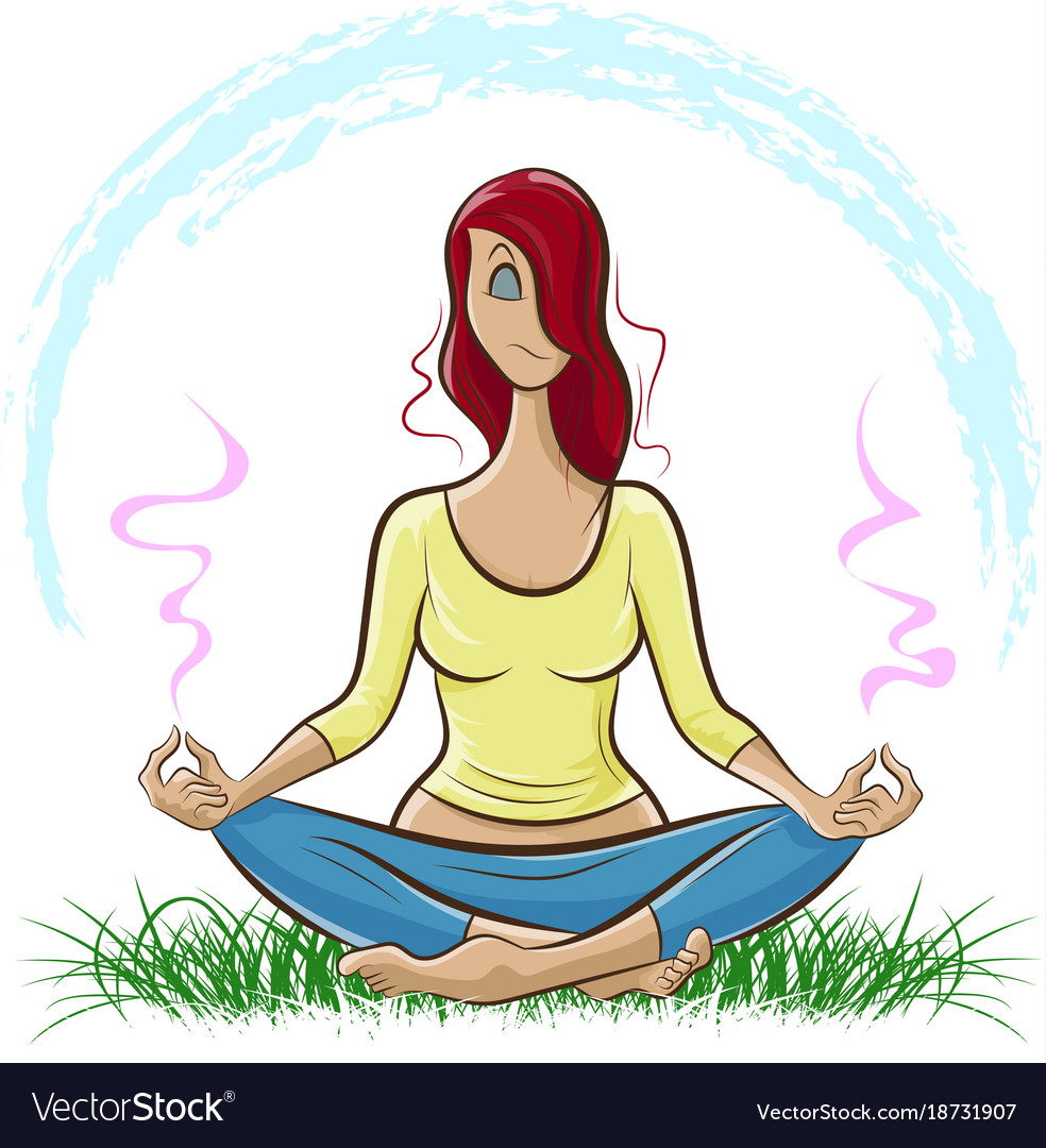 Red-haired girl doing yoga and meditating