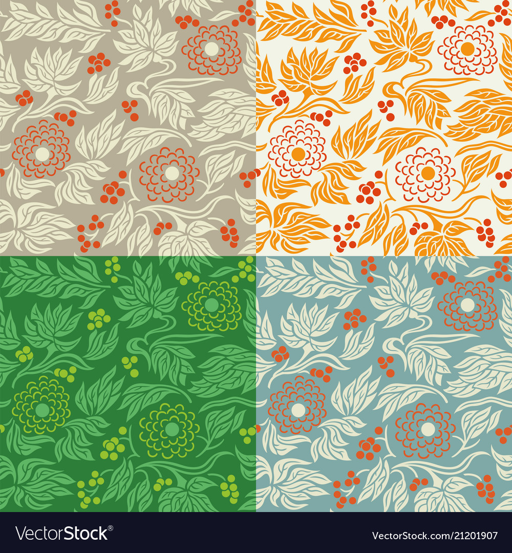 Seamless floral pattern 3 in 4 color variations