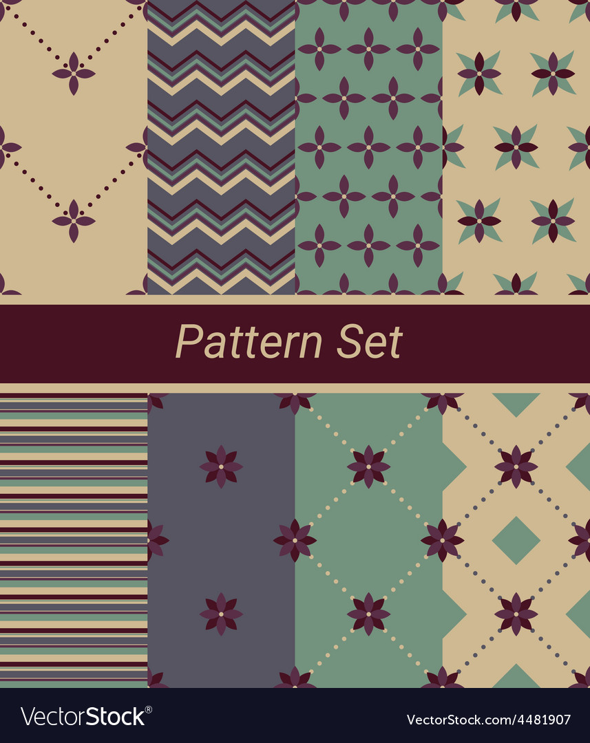 Set of 8 simple floral and geometrical patterns