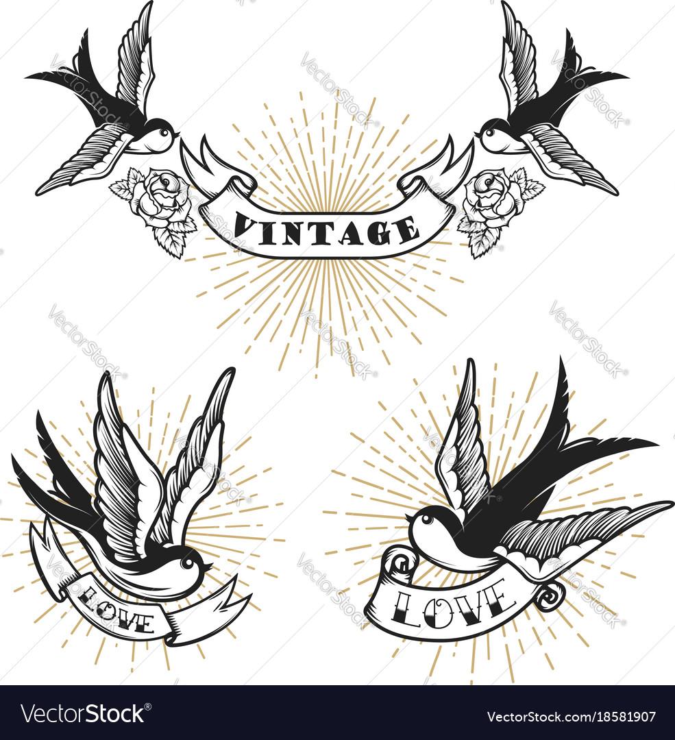Set of retro style tattoo with swallow bird