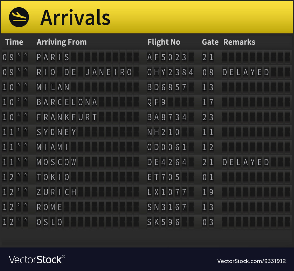Airport timetable vector image