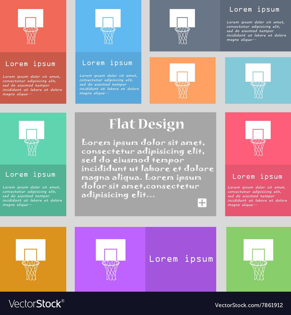 Basketball backboard icon sign Set of multicolored vector image