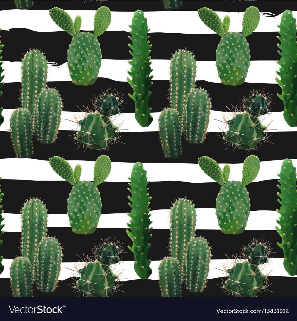 Cactus plant seamless pattern