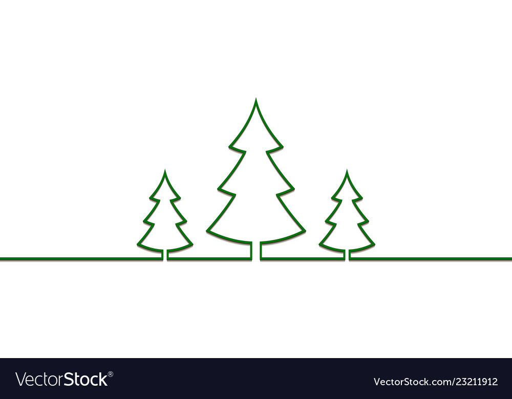 Christmas trees one line drawn new year