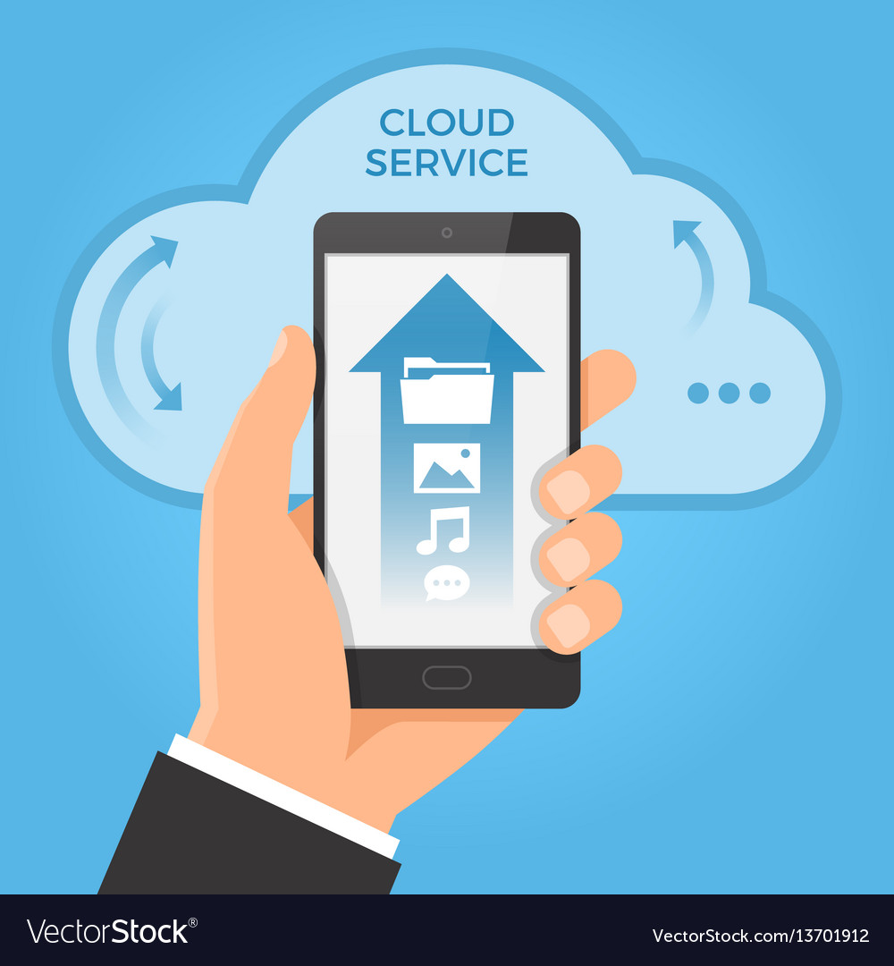 Cloud computing concept hand holding smartphone