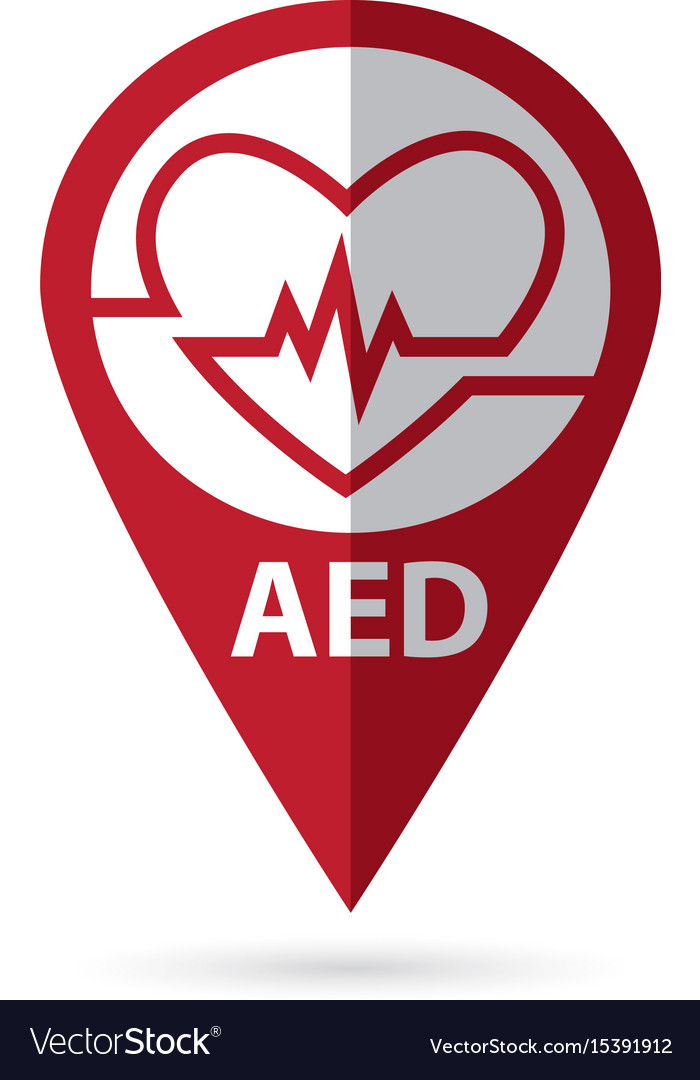 Defibrillator Symbol With Location Icon Royalty Free Vector