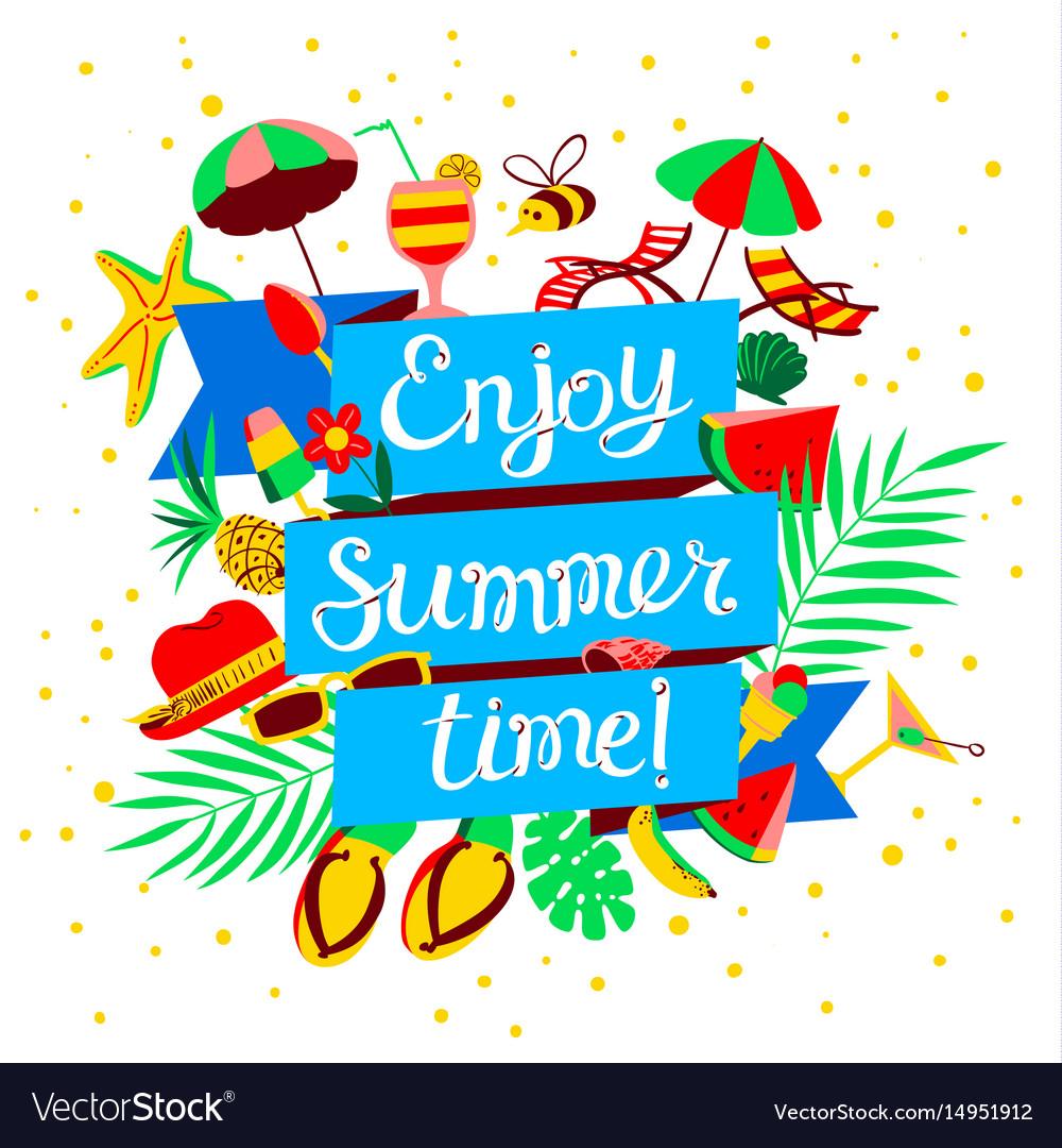 Couple Enjoying Their Summer Holidays Stock Photo: Enjoy Summer Time Lettering Beach Holidays Banner Vector Image