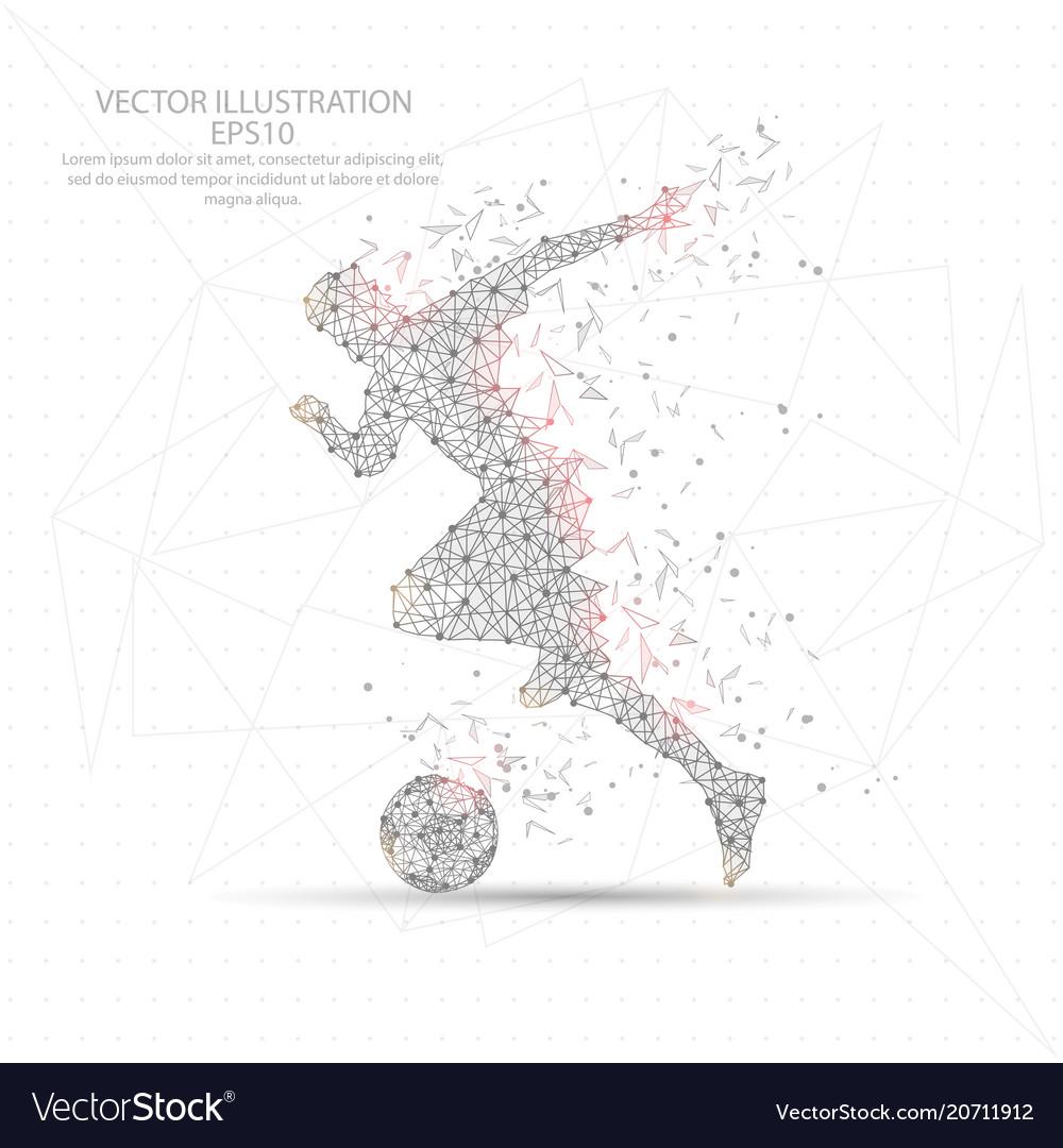 Football soccer player digitally drawn low poly