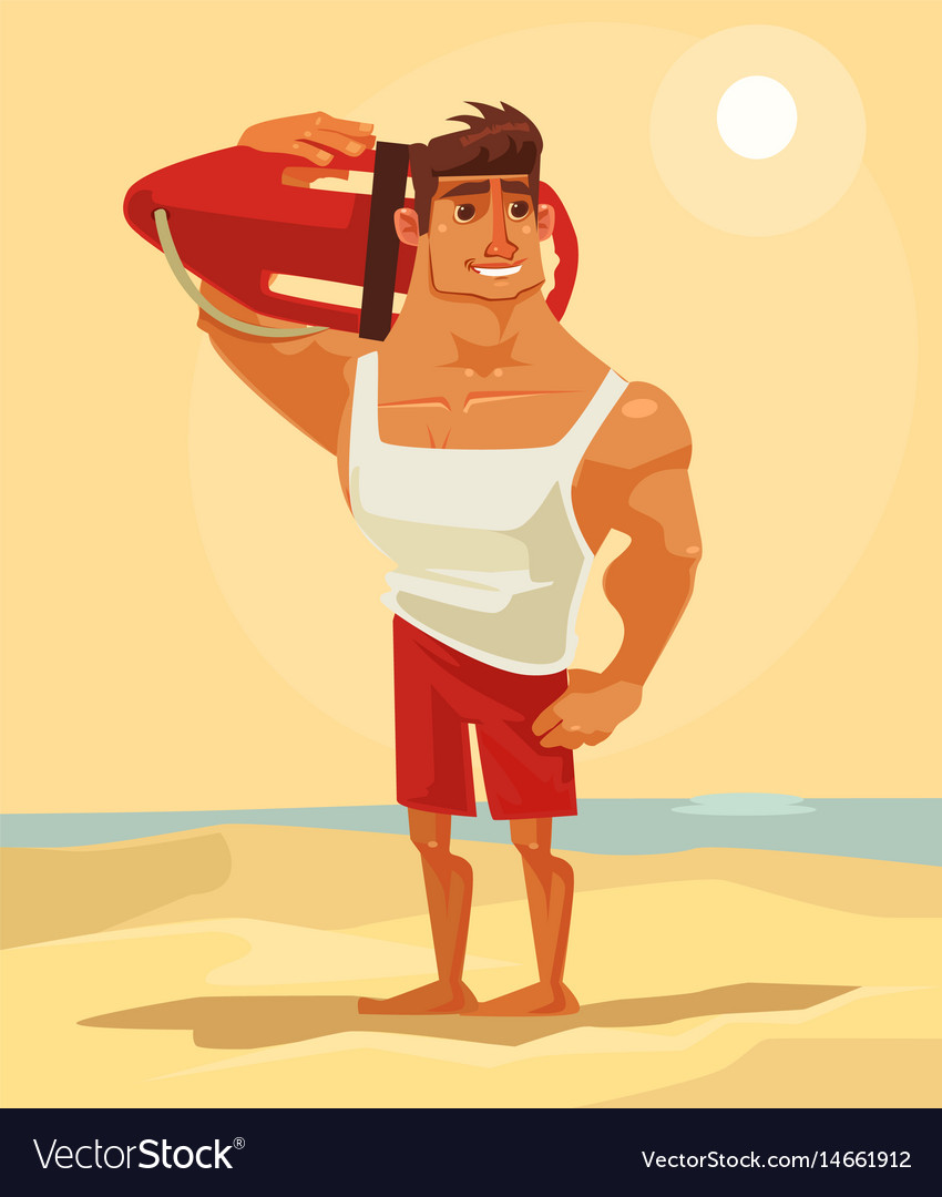 Happy smiling sea lifeguard man character mascot