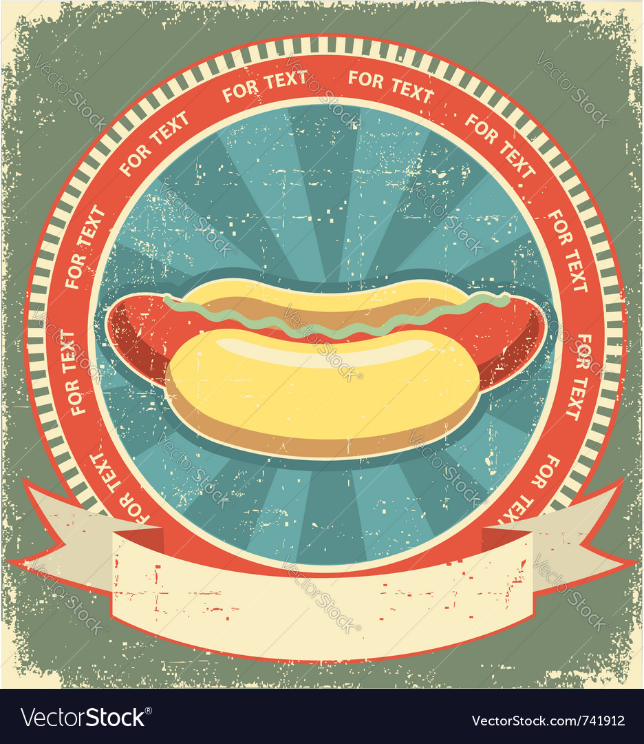 Hot dogs vintage vector image