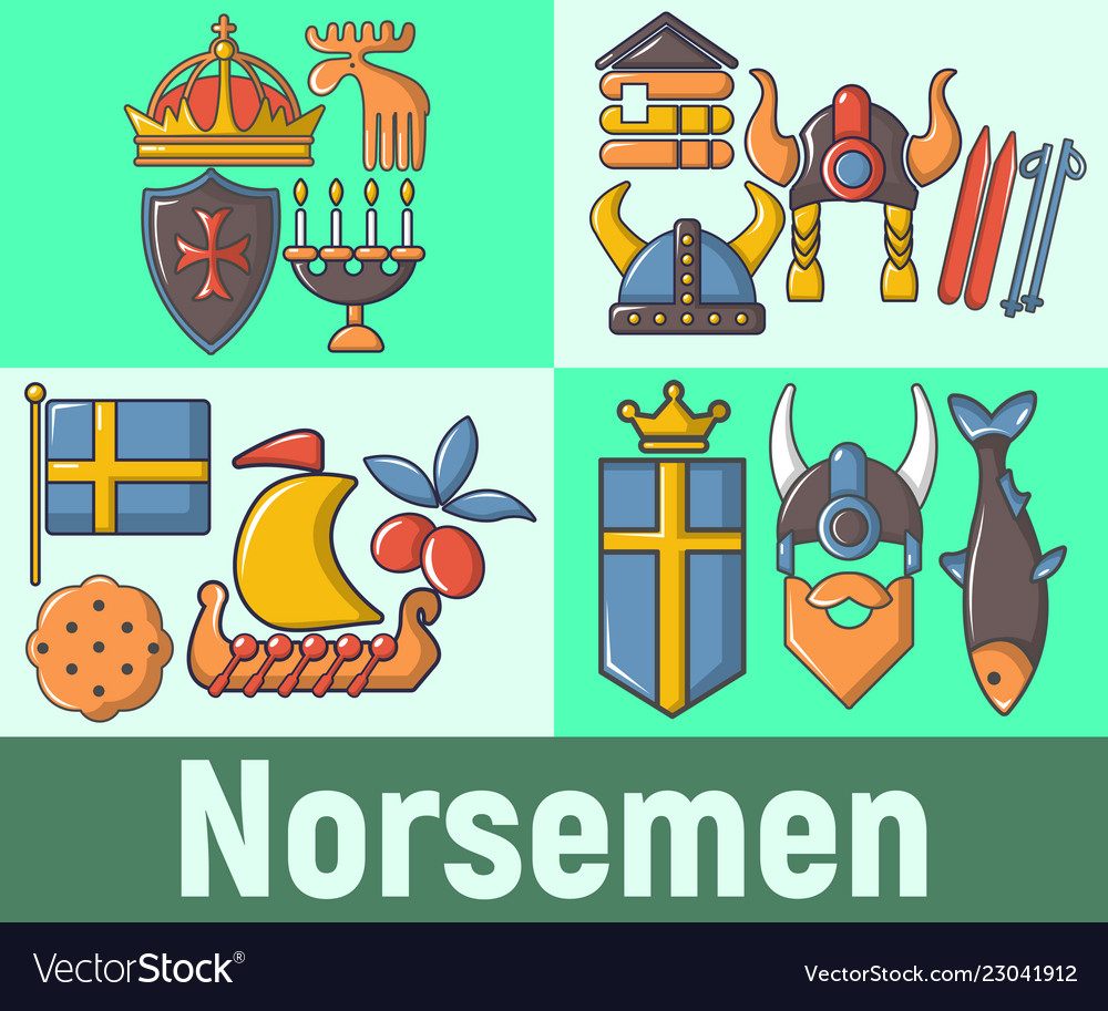 Norsemen concept banner cartoon style