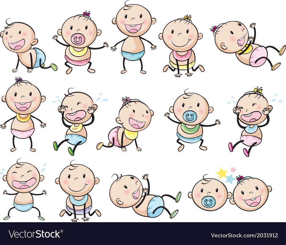 Playful babies vector image