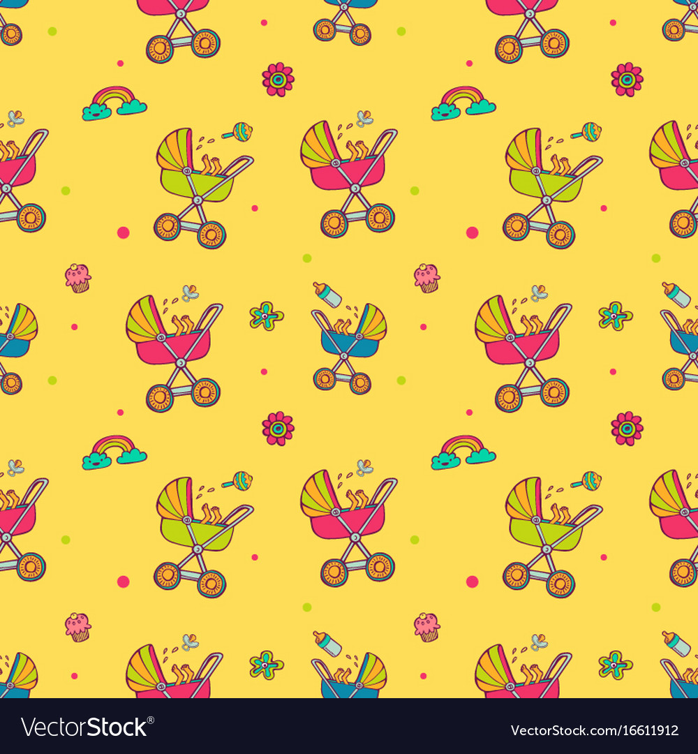 Seamless pattern with cute baby carriages