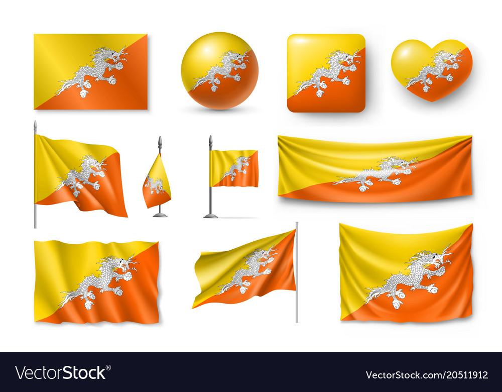 Set Butane Flags Banners Banners Symbols Flat Vector Image