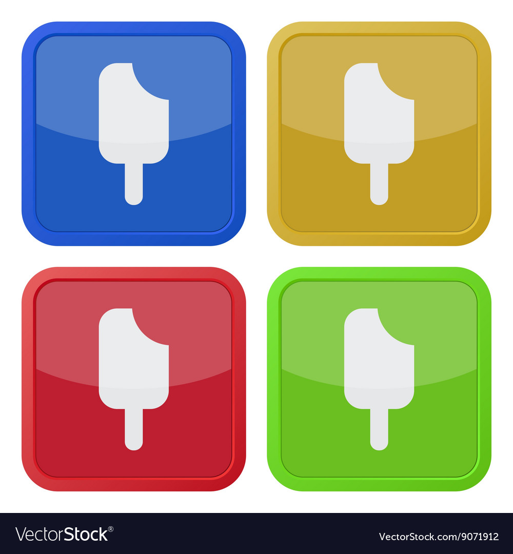 Set of four square icons with stick ice cream vector image