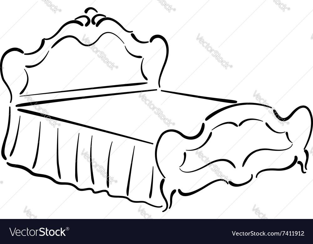Sketch of an elegant vintage bed