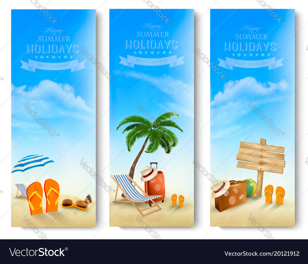 Tropical seaside with palms a beach chair and a